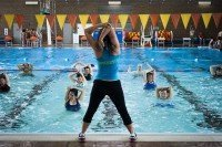Learning Zumba Aqua moves in the swimming pool