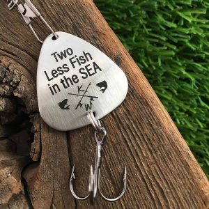 Personalized fishing lure - two less fish in the sea