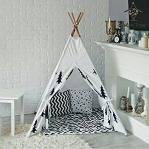 Love Tree Canvas Teepee With Carry Case Children Playhouse Canopy Tent Black and White Tree Style