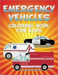 Emergency vehicles children coloring book and convenient for kids