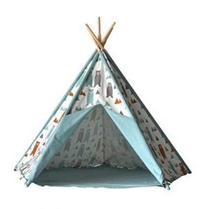 children tipi teepeh to play in, green color and wood frame