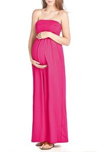 Long red dress for pregnant woman