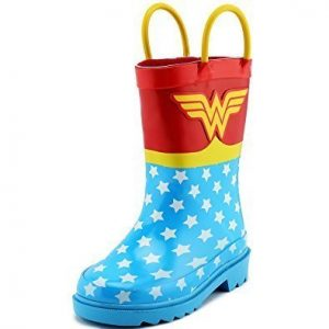 water boots in the shape of wonder woman, blue and red colors