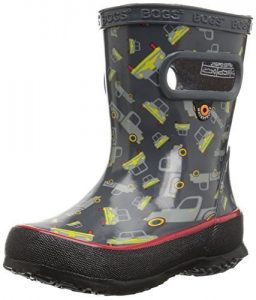 water boots in black, gray and red stripe for children