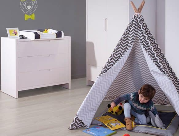 gray and white tipi for children bedroom