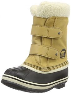 sorel childrens 1964 pac strap snow boot, brown and white