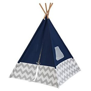 blue and white tipi for children bedroom and playroom