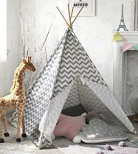 white and blue printed tipi