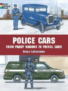 Police Cars coloring book, paddy wagons to police patrol vehicles, fun with children at home drawing