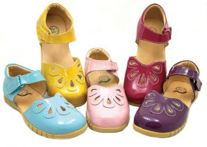petal colored baby shoes