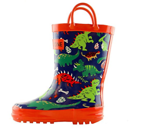 children rain boots, green and blue and red color